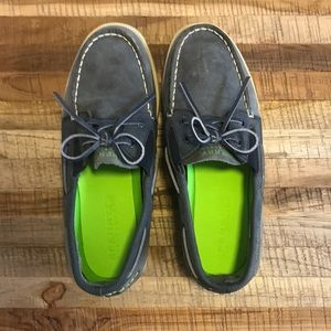 Sperry navy leather boat deck shoes